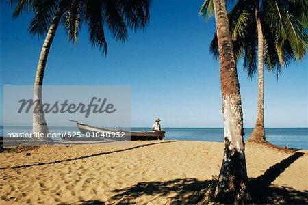Paysage marin avec sable plage des palmes, Mayguez beach, Puerto Rico