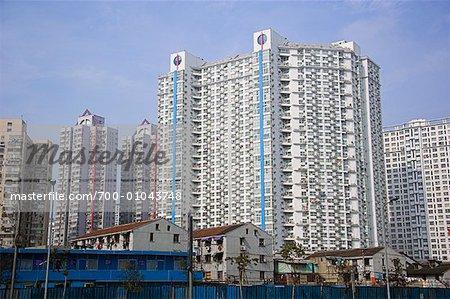 Tours d'habitation et logement de faible hauteur, Shanghai, Chine