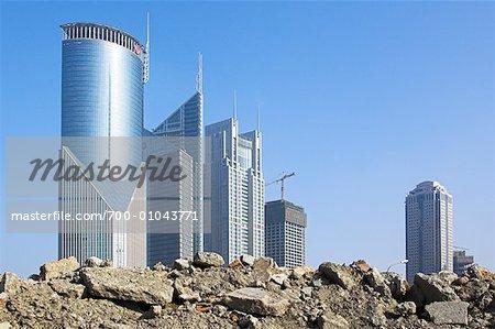 Chantier de construction de ville, Shanghai, Chine