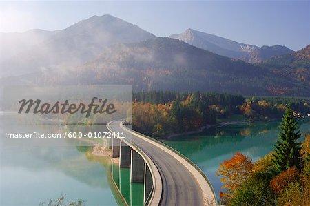 Bridge over Lake Sylvenstein, Bavaria, Germany