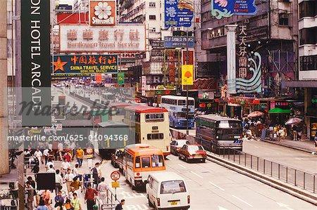 Traffic moving on the road, Hong Kong, China