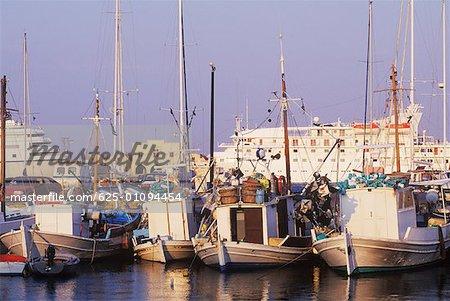 Boats moored at a harbor