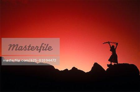 Silhouette of a hula dancer dancing on a rock, Hawaii, USA