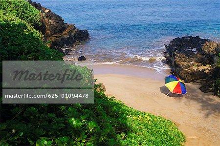 High angle view of a beach umbrella on the beach, Hawaii, USA