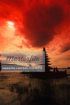 Silhouette of a temple in a lake, Puru Ulu Danau Temple, Bali, Indonesia