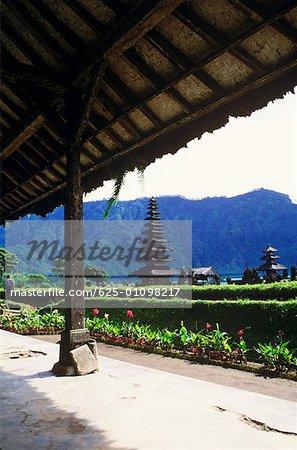 Hedge in front of a temple, Pura Ulu Danau Temple, Bali, Indonesia