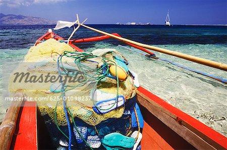 Fishing net in a boat, Bali, Indonesia