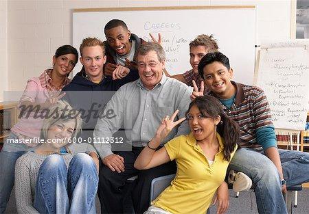 Portrait des élèves avec l'enseignant