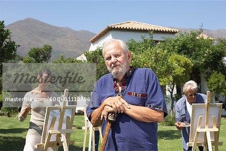 Personnes à la classe de peinture, Casares, Espagne