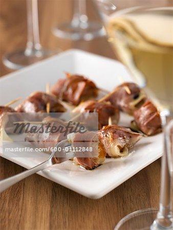 Schinken mit Käse und Weißwein