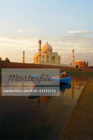 Person sitting in a boat, Taj Mahal, Agra, Uttar Pradesh, India