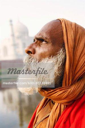 Close-up of a priest looking up, Taj Mahal, Agra, Uttar Pradesh, India