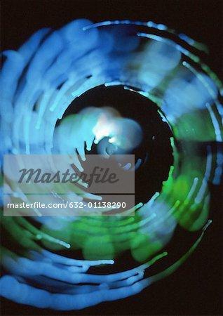 Spiralförmig Lichteffekt, Blues und grünen, schwarzer Hintergrund