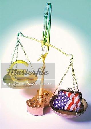 Symbole de l'euro et porte monnaie américaine placé sur des échelles.