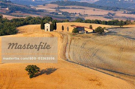 Cappella di Vitaleta, Val d'Orcia, Sienne, Toscane, Italie