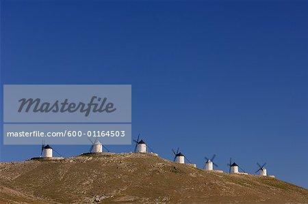 Windmills on Hill, Castilla La Mancha, Ciudad Real Province, Spain
