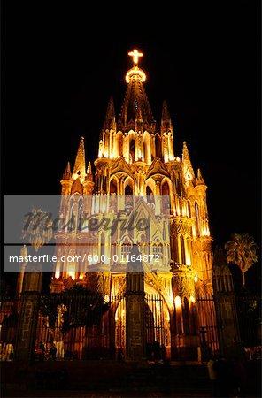 La Parroquia at Night, San Miguel de Allende, Mexico