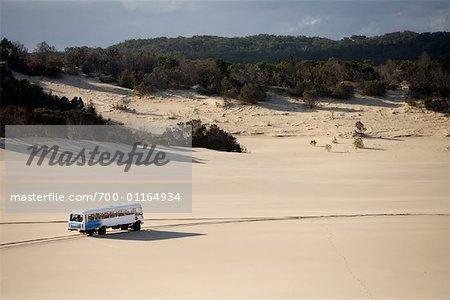 Desert passage bus sur Moreton Island, Queensland, Australie