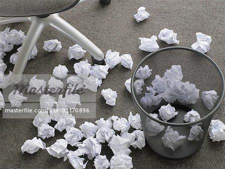 Crumpled paper on floor