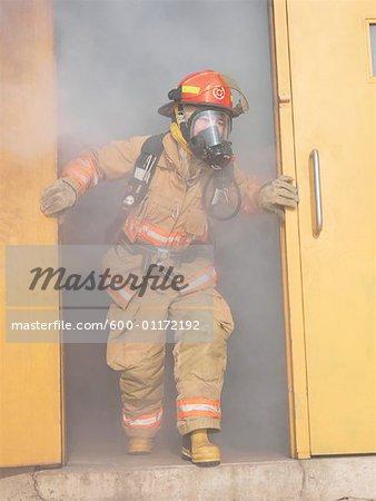 Firefighter Leaving Building