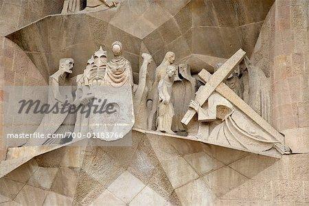 Gros plan de l'église Sagrada Familia, Barcelone, Espagne