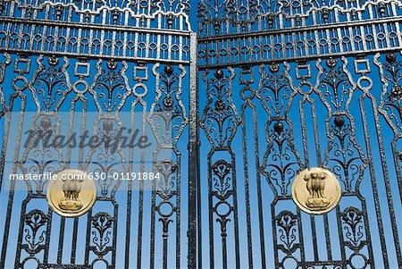 Close-up of the Indian emblem on a metal gate, Rashtrapati Bhavan, New Delhi, India