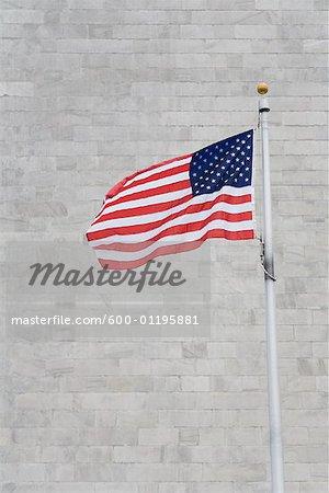 American Flag, Washington Monument, Washington, D.C., USA