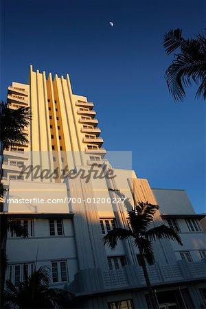 Exterior of the Royal Palm Hotel at Dusk, South Beach, Miami, Florida, USA