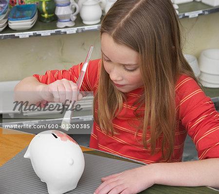 Girl in Pottery Studio
