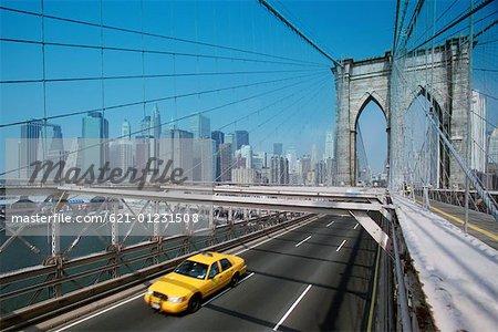 taxicab on Brooklyn Bridge, NYC