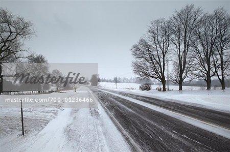 Route enneigée en hiver, Ontario, Canada