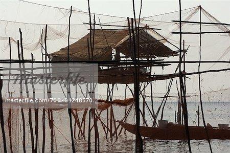 Hut, lac Tonle Sap, Siem de Fisherman's Reap, Cambodge