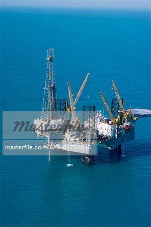 Aerial view of oil derrick in Mediterranean