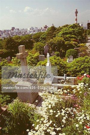 Erhöhte Ansicht des Friedhofs, Yokohama, Präfektur Kanagawa, Japan