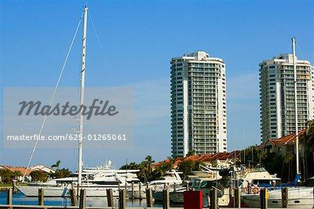 Boats moored at a dock, Miami, Florida, USA