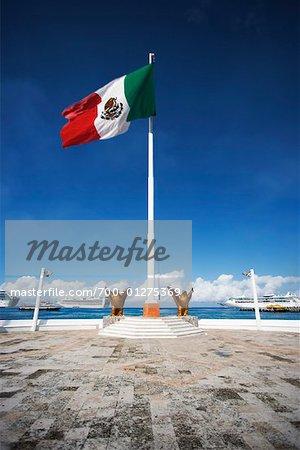 Drapeau mexicain, Cozumel, Mexique