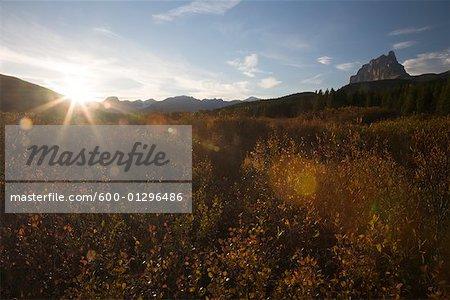 Coucher de soleil sur le paysage, la vallée de la rivière Bow, Parc National Banff, Alberta, Canada