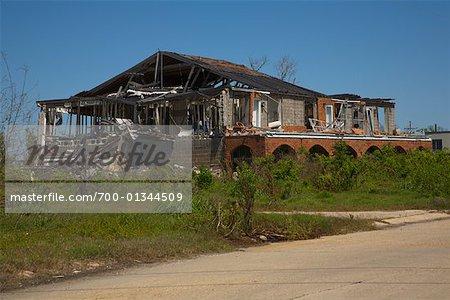 Maison endommagée par l'ouragan Katrina, Port soufre, Louisiane, Etats-Unis