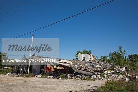 Immeuble endommagé par l'ouragan Katrina, Port soufre, Louisiane, Etats-Unis