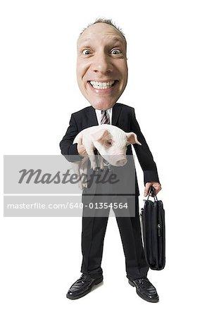 Caricature d'homme d'affaires porte-documents et Porcinet