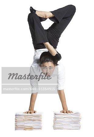 Female contortionist businesswoman