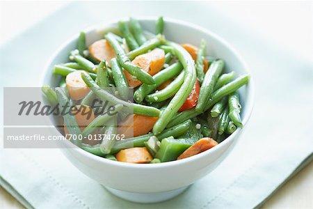 Grüne Bohnen und Karotten