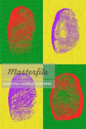 Four colorful fingerprints