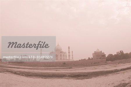 Mausoleum at the riverside, Taj Mahal, Agra, Uttar Pradesh, India