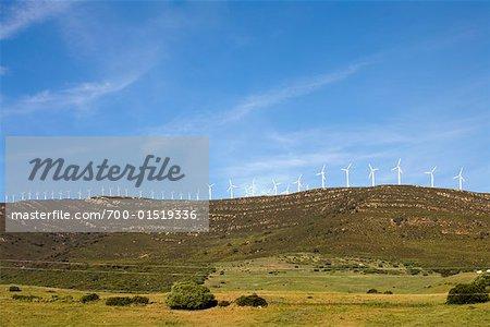 Éoliennes sur la colline