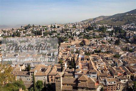 Overview of Albaicin, Granada, Spain