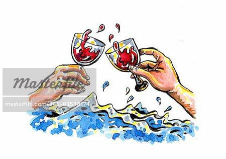 Verres à vin grillage par temps orageux les mains mâle et femelle