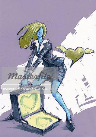 Femme habillée en costume/tailleur avec une valise ouverte