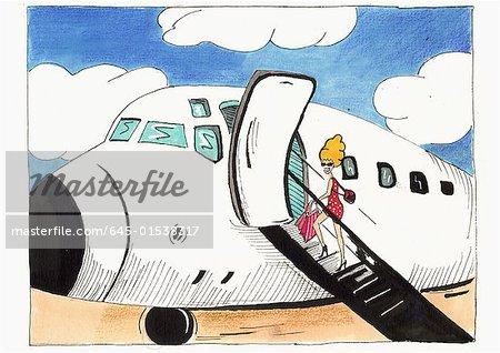 Robe de femme blonde à petits pois rouges d'embarquement avion