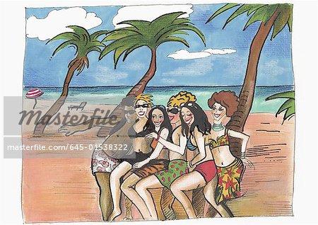 Groupe de femmes avec un homme posant sur une plage tropicale